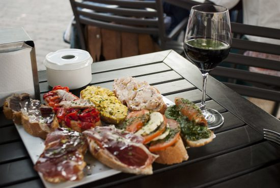 Tapas selection and wine